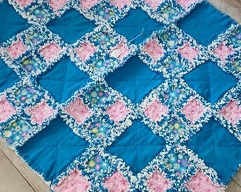 Turquoise and Pink Rag Quilt