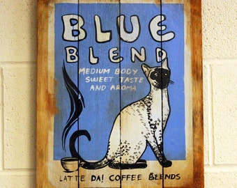 Wooden Coffee Sign - Blue Blend Cat