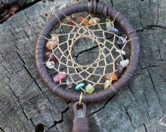 Dreamcatcher Necklace/Gemstones/Leather/Rainbow/Boho Jewelry/Festival Wear/Hippie Accessory/Gypsy/Free Spirit/Weaving/Good Vibes/Gift