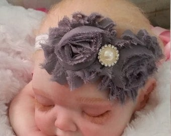 Baby Headband, Newborn, Infant Shabby chic Headband.