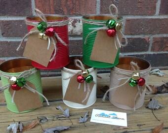 Christmas Centerpieces  Tin Cans