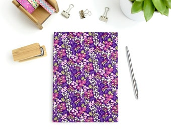 A5 harback notebook, purple floral print fabric covered journal with lined pages, stationery, workbook