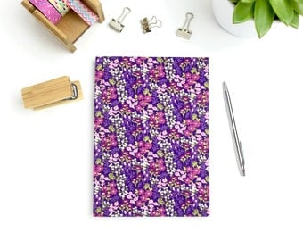 A5 hardback notebook, purple floral print fabric covered journal with lined pages, stationery, workbook