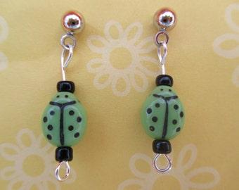 Green ladybug earrings-ladybug jewelry-Lady bug posts-Kids clip on earrings-bug dangles-girls-insect stud-Childrens-nickel free-little girls