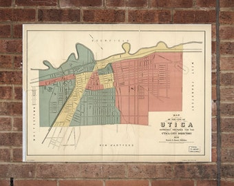 Utica NY Vintage Print Poster  Map  From 1876 New York
