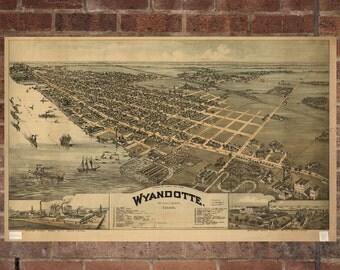 Wyandotte Michigan Vintage Print Poster Map 1896 Poster of MI Map Art Wall Decor