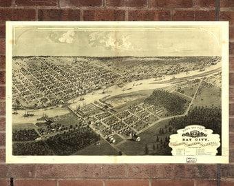 Bay City  Michigan Vintage Print Poster Map 1867 Poster of MI Map Art Wall Decor