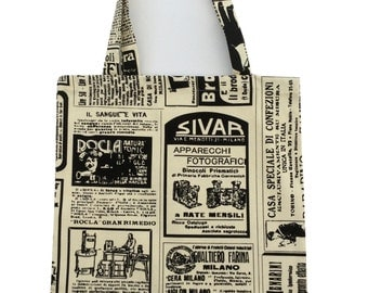 Tote bag/Book/School/Grocery/Knitting/Shopping bags perfect gift Newspaper style design Black and White  Cotton Canvas Made in Britain