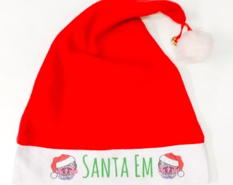 Personalised Santa hat ~ Father Christmas hat ~ Xmas red with bell ~ made to order