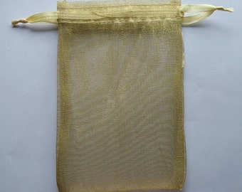 50 Champagne Organza Bags 4x 6 favor bags wedding packaging beads, herbs