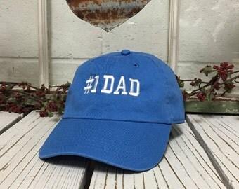 NEW # 1 DAD Sky Blue Baseball Hat Curve Bill White Thread