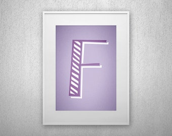 Typography Art Print - F - Letter poster - Printable - Wall Art