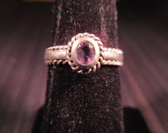 Tiny Sterling Silver Purple Gemstone Ring - 6