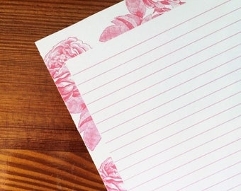 Vintage Rose Line Art Writing Paper Stationery in Pink Lined
