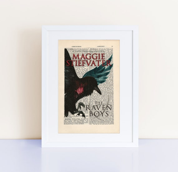 The Raven Boys by Maggie Stiefvater Print on an antique page, book cover art