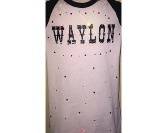 Cusrom Distressed Waylon Jennings Shirt With Swarovski Detail