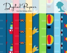 Digital Scrapbooking Papers: Transport Vehicles in Blue, Red, Green & Yellow Buy 2 Get 1 FREE INSTANT DOWNLOAD