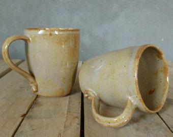 Hand-made beige Brown mug coffee tea-handmade stoneware mug coffee tea wheeltrown brown beige