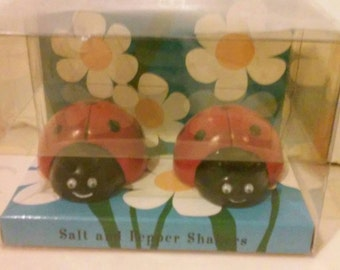 Ladybug Salt and Pepper Shakers Red and Black