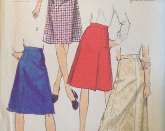 """Simplicity 6313 - 1970s Set of Skirts in Two Lengths - Size 16 Waist 30"""""""