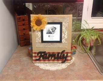 Family Frame on Burlap