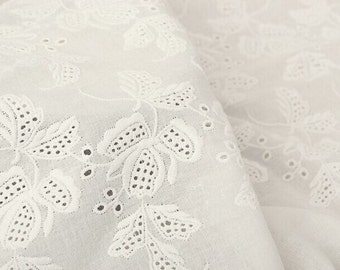 Cotton Lace Fabric in White, Retro Hollowed Flower Lace Embroidery Fabric Lace,Weddings Lace,13.78 inches wide 1 yards ,MS120