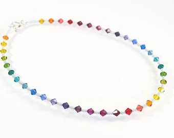 Rainbow Swarovski Crystal Necklace, Rainbow Necklace, Swarovski Necklace, Rainbow Gift for Her, Rainbow Wedding, Swarovski Mothers Day Gift
