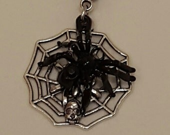 Black Spider & Web Necklace, Free Shipping