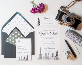 Chicago Skyline Wedding Invitations | Wedding Invitation Suite