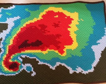 Supercell (storm) c2c afghan / cross stitch pattern, 3 sizes!