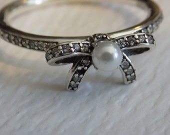 SUMMER SALE Sterling Silver Delicate Sentiments pave and pearl bow ring, compatible with european bracelet charms size 8
