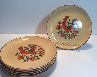 Vintage Taylor Smith & Taylor Reveille Rooster Bread / Butter Plates..Mid Century Modern Dinnerware...Retro Rooster Design Serving Plates..