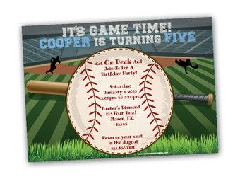 Baseball Invitation - Baseball Party - Sports Invitation - Little Slugger Baseball Birthday Invites - Home Run Boy Birthday Invite Stadium