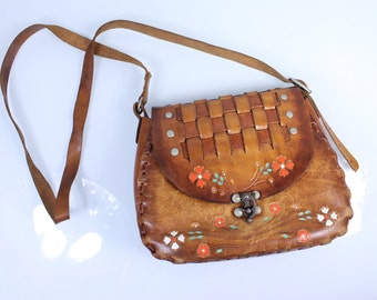 1950s Hand Tooled Leather Purse