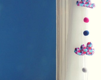 Rainy day cloud mobile,window decoration for nursery.Pink and blue geometric print , blue , pink and  white felt balls,with bell  .