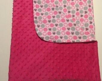 Pink Baby Blanket, Pink Minky Blanket, Girl Nursery, Nursing Blanket, Nursery Bedding, Baby Bedding, Toddler Blanket, Baby Shower Gift