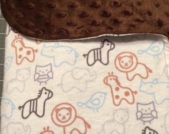 Nursery Blanket, Minky Receiving Baby Blanket, Baby Blanket , Minky Blanket, Animal Print  Baby Blanket , Boy Baby Blanket, Stroller Blanket