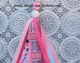 Breast cancer hope Ribbon polka dot cancer awareness fabric tassle ribbon keychain
