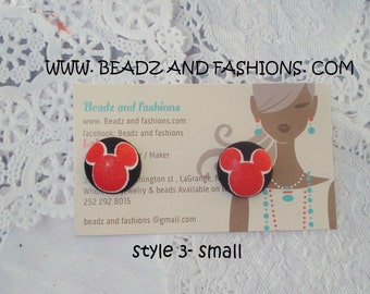 Mickey Mouse head outline fabric cover button earrings 3 styles