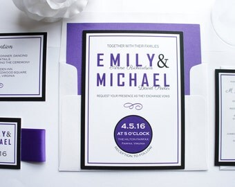 Purple Wedding Invitation, Purple and Black Wedding Invitations, Modern Wedding Invitation, Wedding Invite, Fun Wedding Invitation - Deposit