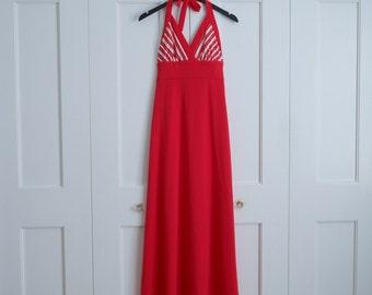 1970s halter maxi dress