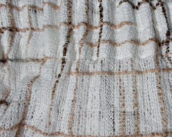 """Vtg woolly textured French curtain ivory, beige and brown woolly net style curtain large 93 or 113 inches long x 143"""" wide"""