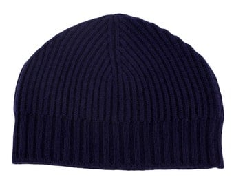Mens Ribbed 100% Cashmere Beanie Hat - Navy Blue - handmade in Scotland by Love Cashmere