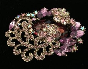 Vintage Flower Amethyst Brooch