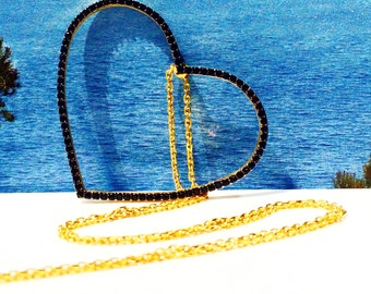 Heart Necklace With Cubic Zirconia • Extra Large Heart Necklace • Safe to get wet • Love Jewelry • Love Gifts