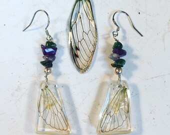 Cicada wing earrings with raw gem stones and sterling silver ear wires