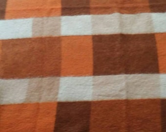 Vintage wool blanket orange brown beige
