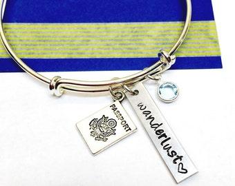 Wanderlust Bracelet, Traveler Bracelet, Love of Travel Bracelet, Traveler's Jewelry, Gift for Traveler