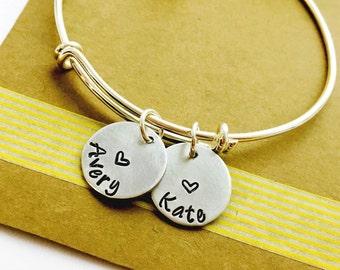 Name Bracelet, Adjustable Bangle Bracelet, Family Bracelet, Personalized Name Bracelet, Mommy Bracelet, Grandchildren Bracelet