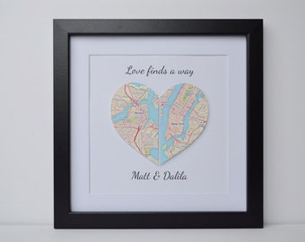 Map Art for Long Distance Relationship- 1st Anniversary Gift, Paper Anniversary,  Paper Heart Map Art, Framed Wall Art, Map Decor, Map Print